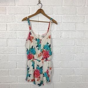 LUCCA COUTURE floral romper shorts size Med
